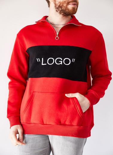 XHAN Gri Melanj Nakışlı Üç Iplik Sweatshirt 1Kxe8-44231-32 Kırmızı